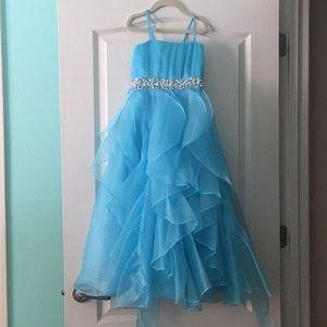 Sky Blue thin strap pageant dress!